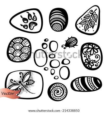 Vector Set of Ornate Pebbles. Collection of Patterned Deco Elements