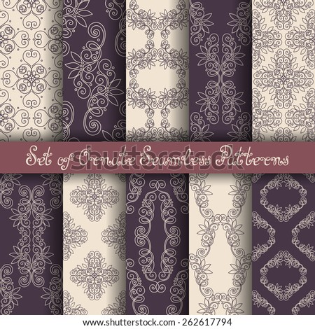 Vector Set of 10 Ornate Seamless Patterns in Vintage Linear Style. Wedding Decor - stock vector