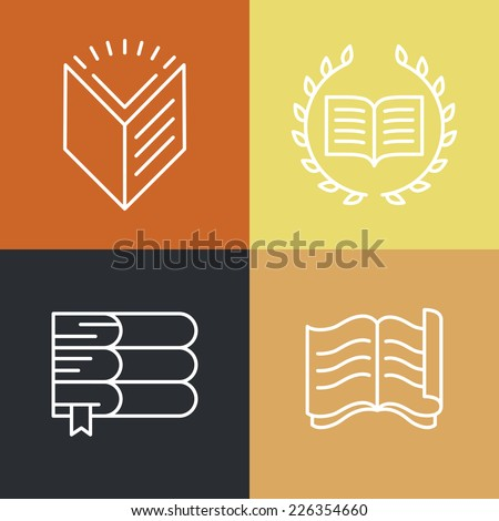 Vector set of outline education logos and icons - trendy emblems and design elements for courses, classes and schools - stock vector