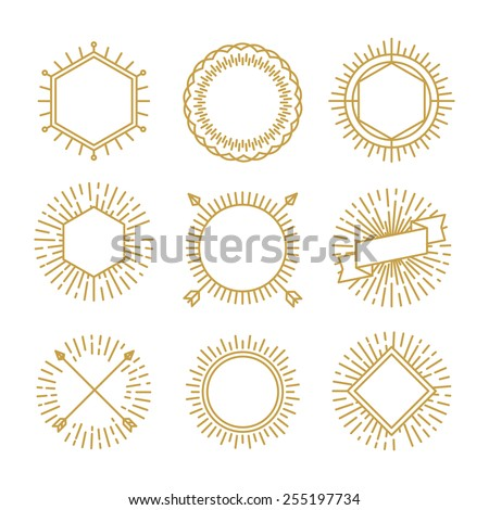 Vector set of outline emblems and badges - abstract linear hipster logo templates - stock vector