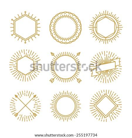 Vintage Circle Sunburst Line Emblems Badges Stock Vector 531463711 ...