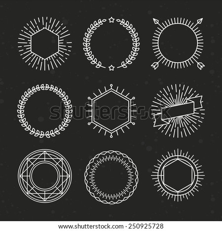 Vector set of outline emblems and badges - abstract linear hipster logo templates with arrows, wreaths and copy space for text - stock vector