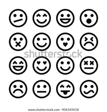 Vector Set Of Outline Emoticons. - stock vector