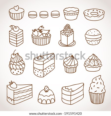 Vector set of outline hand drawn sweet cakes tarts pie donut cupcakes chocolate dessert bakery - stock vector