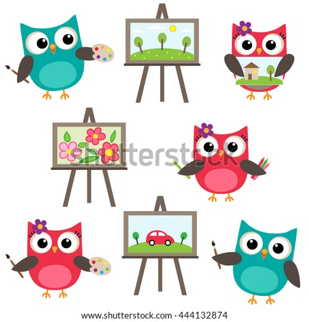 Vector set of owls learning to draw. Drawing lessons - stock vector