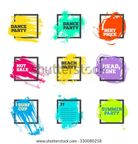 Vector set of paint and square frame for banner, label, tag, poster, headline, message, quote design. - stock vector