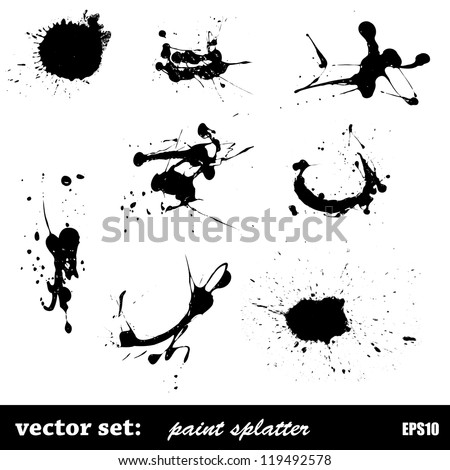 vector set of paint splatter - stock vector