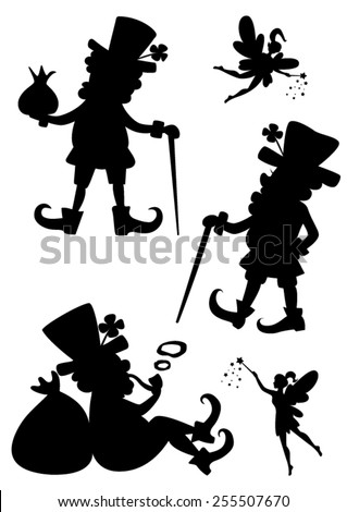 Vector set of painted silhouettes leprechauns and fairies. - stock vector