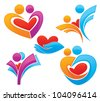 vector set of palm, hearts,people and  love, concept of happy life - stock photo