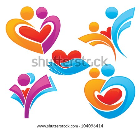 vector set of palm, hearts,people and  love, concept of happy life - stock vector