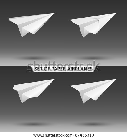 Vector set of paper airplanes - stock vector