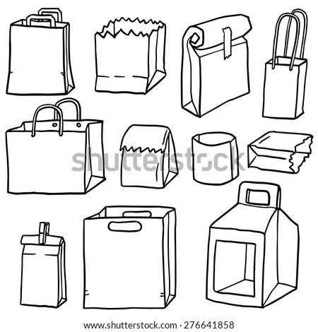 vector set of paper bag - stock vector