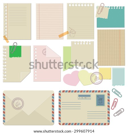 Vector set of paper, envelopes, paper clips. Corporate style template design - stock vector
