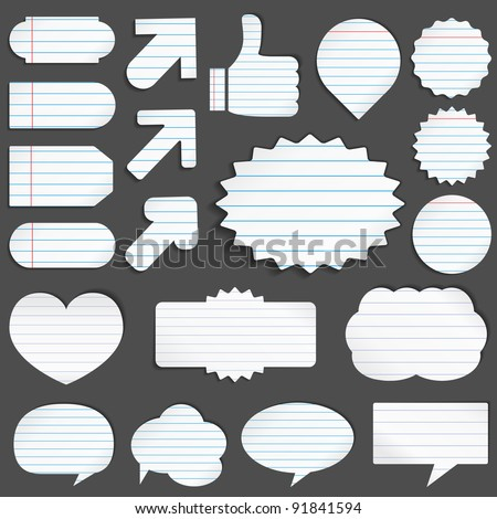 Vector set of paper objects - stock vector