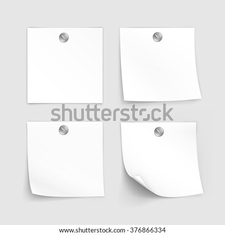 Vector Set of Paper Sticker Sticky Note Post Memo Label Isolated on White Background