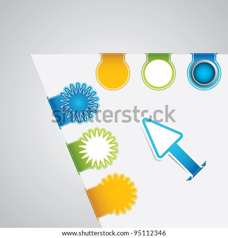 Vector set of paper tags - stock vector