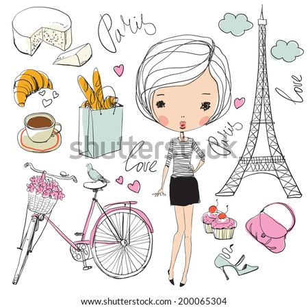 Vector set of Paris. Girl.  - stock vector