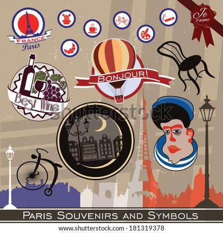 Vector set of Paris symbols and stickers - stock vector