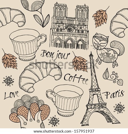 Vector set of Paris symbols. Vector seamless pattern