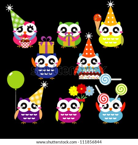 Vector Set of Party Owls - stock vector