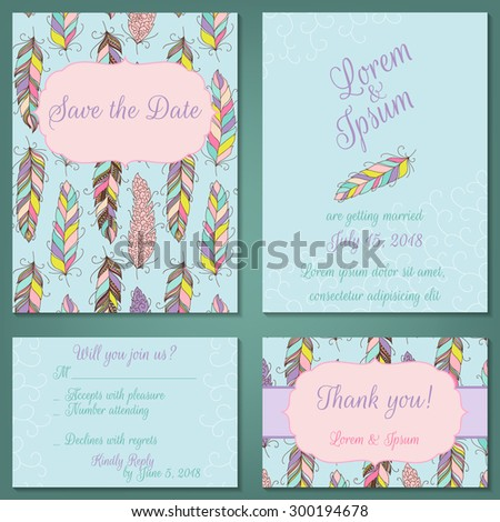 Vector set of pastel tender wedding, baby shower invitation, congratulation cards. Save the date / invitation, Thank you / RSVP - stock vector