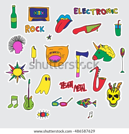 Vector set of patches and stickers hand drawn fashion cute comic illustration pop