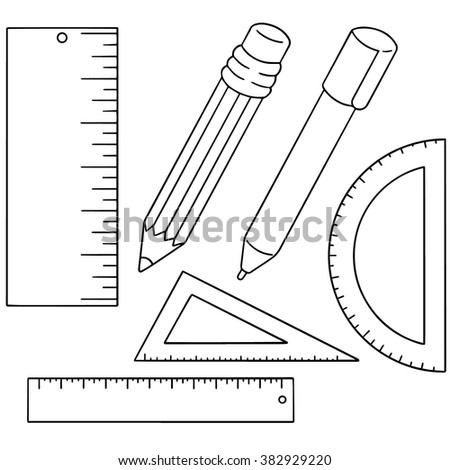vector set of pen, pencil and ruler