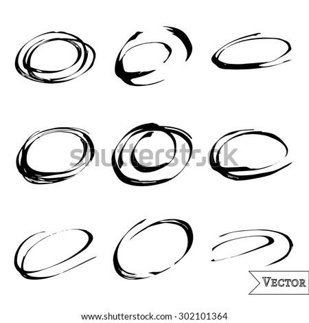 Vector set of pen scribbles. Grunge pencil circles. Quick bubble sketches. - stock vector