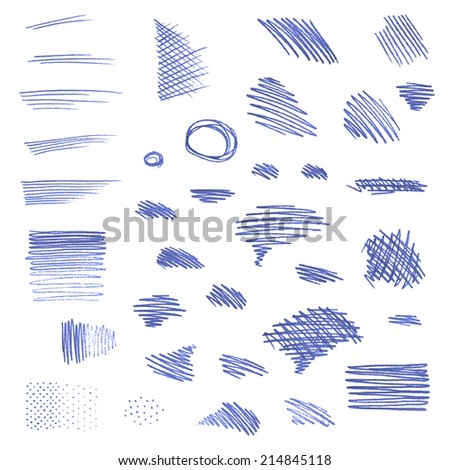 Vector set of pen strokes isolated on white background. Various geometric shapes. - stock vector