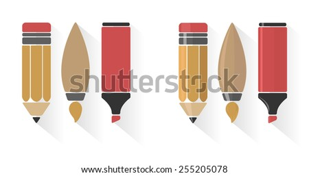 Vector set of pencil, brush, and marker in flat style  - stock vector