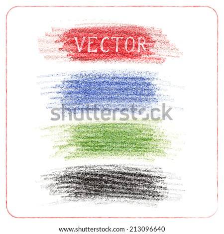 Vector set of pencil scribbles of different colors - stock vector