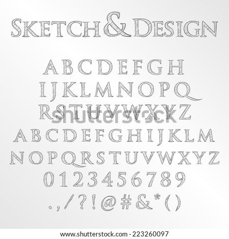 Vector set of pencil sketched letters
