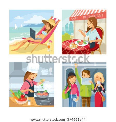 Vector set of people cooking in the kitchen, dinning in street cafe, freelance working at the beach, in subway with gadgets - stock vector