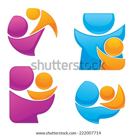 vector set of people, family and love sticker and symbols - stock vector