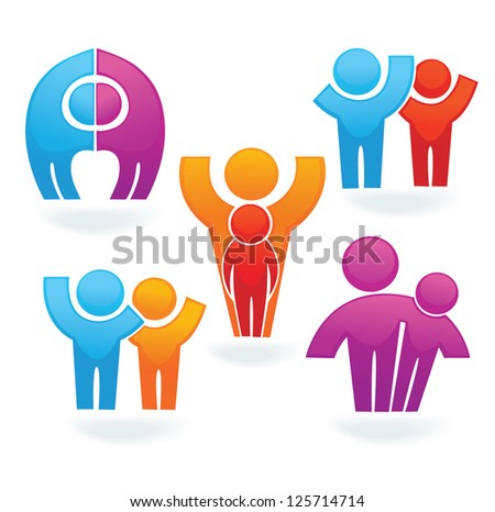vector set of people, family, friends and happiness - stock vector