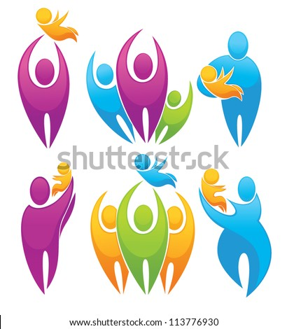 vector set of people, family, parents and babies - stock vector