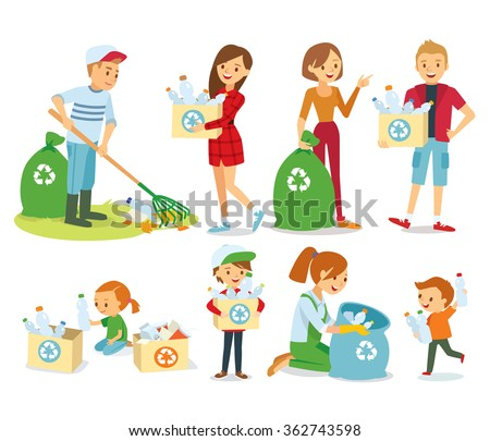 vector set of people gathering garbage and plastic waste for recycling - stock vector
