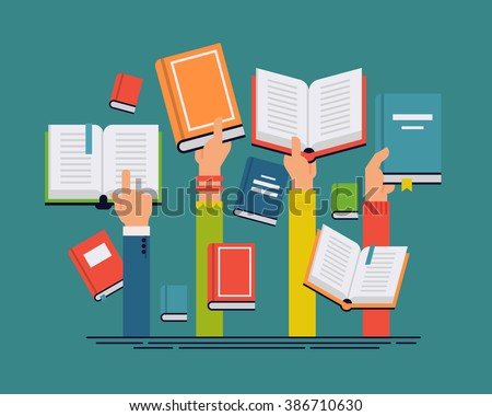 Vector set of people hands holding books. People reading books abstract concept layout. Ideal for book, reading themed banners, posters and flyers - stock vector