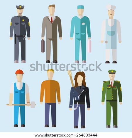Vector set of people of different professions. Flat design illustration - stock vector