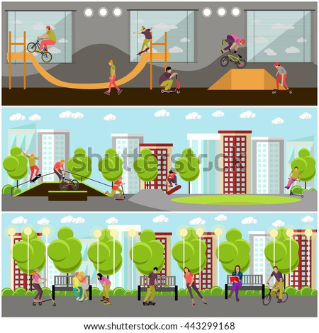 Vector set of people on bicycle, skateboard, rollers and scooter. Sport design elements and icons isolated on white background. Teenager makes tricks and stunts. Skate park banners. - stock vector