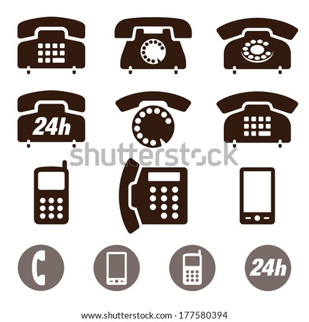 Vector set of Phone Icons isolated on a white background - stock vector
