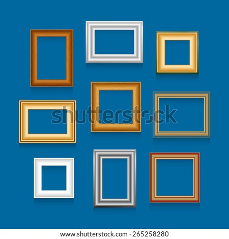 Vector set of picture frames on blue wall. - stock vector