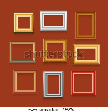 Vector set of picture frames on red wall. - stock vector