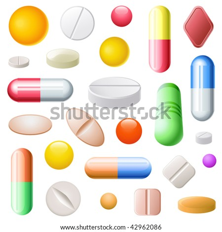 Vector Set of Pills - stock vector