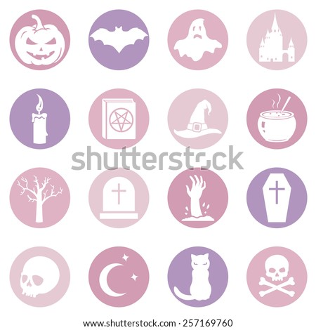 Vector Set of Pink and Purple Halloween Icons - stock vector