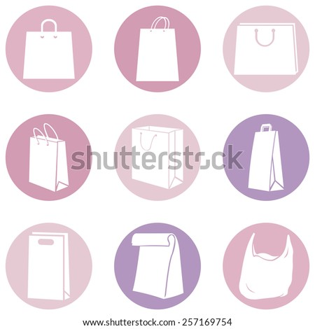 Vector Set of Pink and Purple Shopping Bags Icons