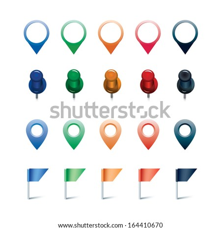 vector set of pins, flags, and markers - stock vector