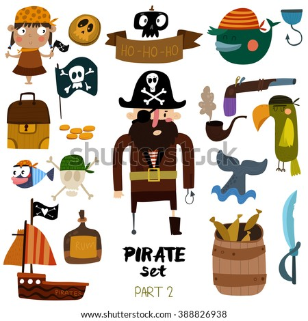 Vector set of pirate items: pirate, ship, skull, parrot, whale, fish, rum and pipe. Colorful cartoon collection - Part 2 -stock vector - stock vector