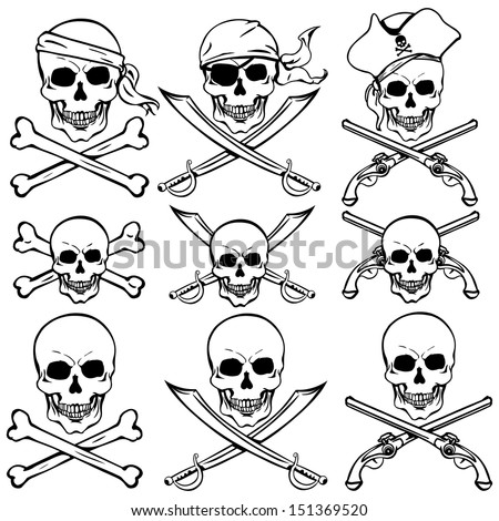 vector set of pirate skulls - stock vector