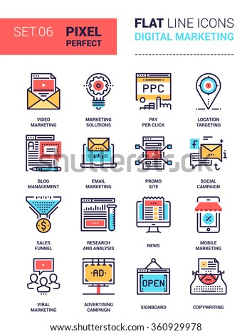 Vector set of pixel perfect based on 64 px grid colorful flat line web icons on digital marketing theme. - stock vector